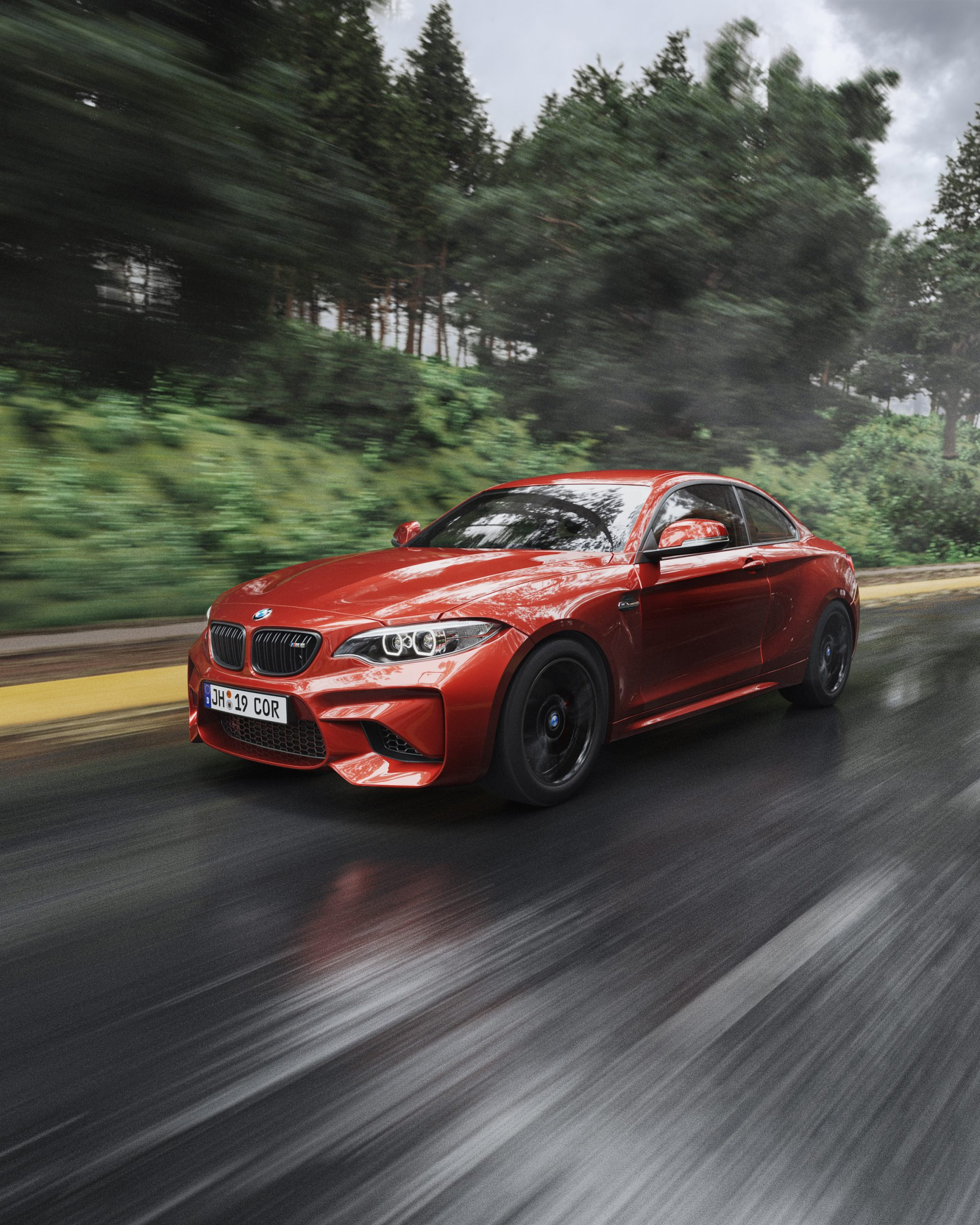 Red BMW M2 render driving down wet road at high speed