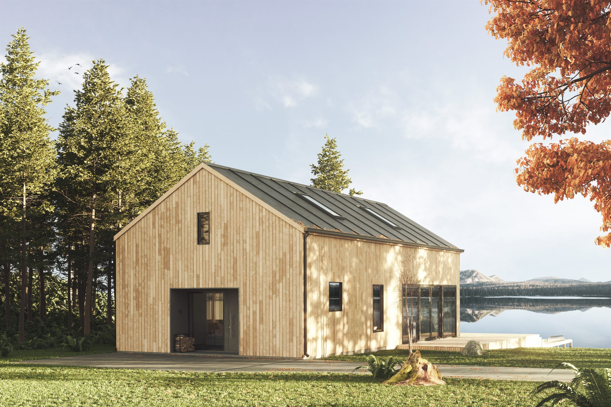Scandinavian long lakehouse with vertical cladding black metal roof