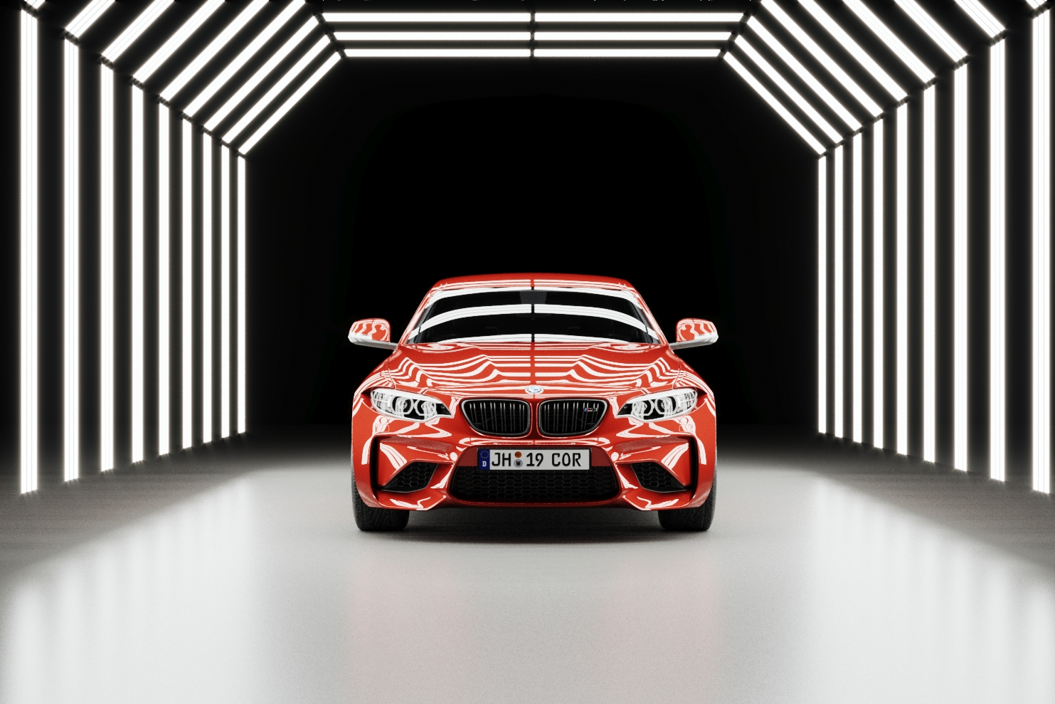 Red BMW M2 render in light tunnel with reflections