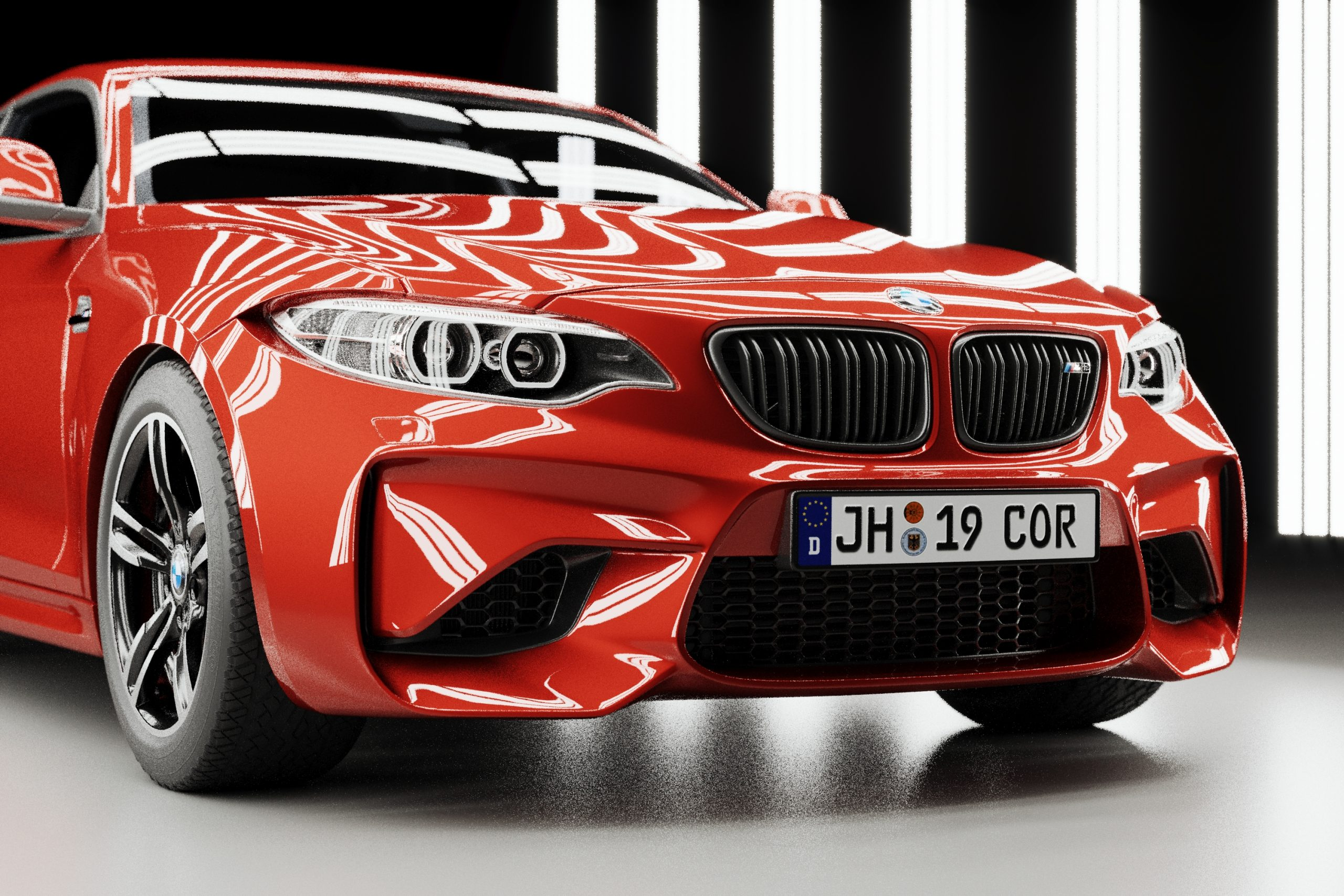 Red BMW M2 front render in light tunnel with reflections