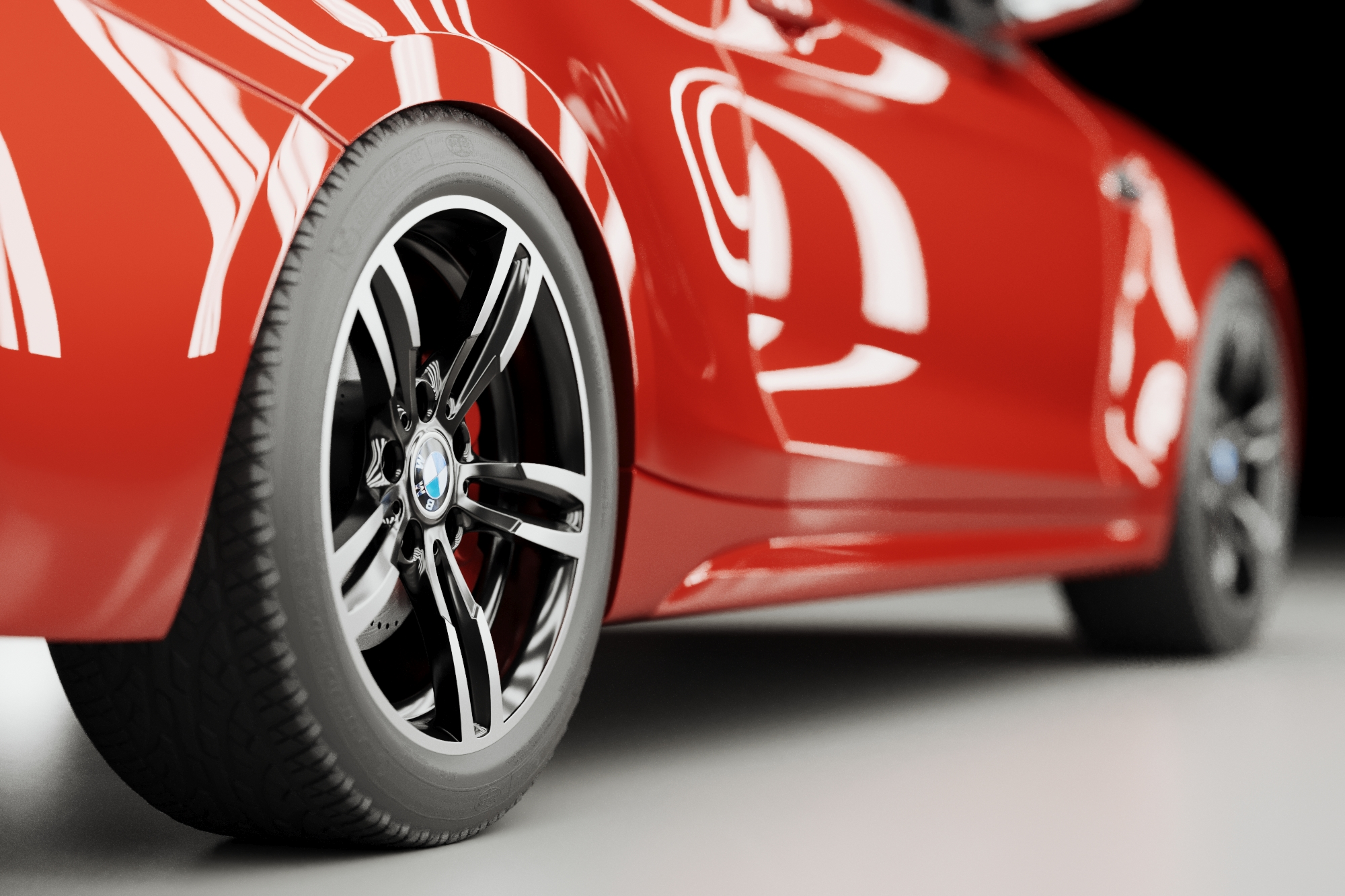 Red BMW M2 wheel render in light tunnel with reflections
